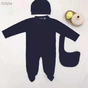 Designer label baby one-piece baby clothes newborn baby clothes long-sleeved boys and girls one-piece + hat + bib