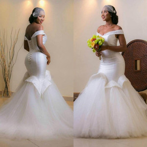 African Off Shoulder Mermaid Wedding Dresses 2021 Gorgeous White Ivory Tulle Long Bridal Gowns Beads Plus Size robes de mariée Back Lace-up