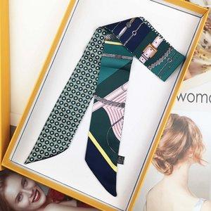 High-end woman Fashion Designs Tied Bag Scarf ladies Small Bow Ribbon Headscarf Silk Scarves Wrap