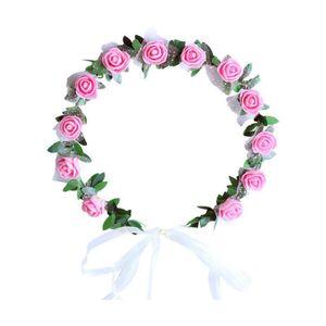 Bodas de la joyería del pelo muchachas de las mujeres de la boda del partido PE aumentó fiesta de cumpleaños venda de la flor del pelo de la guirnalda guirnaldas de Navidad de Navidad