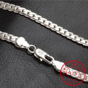 Necklace 5mm 50cm Men Jewelry Wholesale New Fashion 925 Sterling Silver Big Long Wide Tendy Male Full Side Chain For Pendant