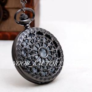 Grande chumbo preta aranha web nova moda relógio de bolso colar jóias vintage por atacado preto cinzelado camisola cadeia de moda relógio