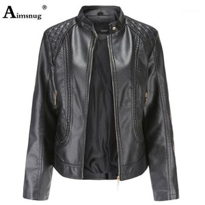 AIMSNUG plus Größe Frauen PU-Lederjacke Rotgewaschene Tunika Oberbekleidung Jacken 2020 Herbst Mandarin Kragen Reißverschluss Slim Damen Mantel1