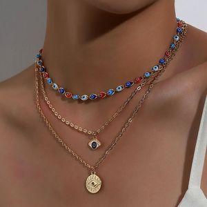 Mode Türkisch Böse Augen Multilayer Halsketten Für Frauen Böhmischen Vintage Teufel Anhänger Halskette Strand Choker Perlen Party Statement Schmuck