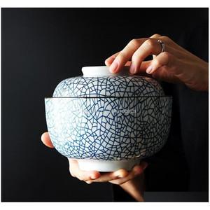 Zen Spirit Bol japonais avec couvercle pour riz soupe à nouilles Vintage sous-allongée Bols de céramique à la main Stew tuleen sqcued jouets2010