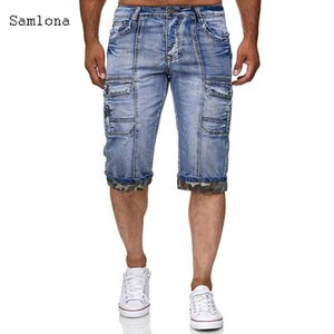 2020 new summer jeans and shorts men's pocket right hand Pocket Shorts men's fashion spot casual fashion low waist knee pants