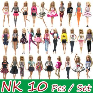 NK 10 PC / Fiesta de la princesa vestido de la muñeca del vestido para Barbie la muñeca de diseño de moda traje mejor regalo para las chicas' muñeca de juguete JJ 1011