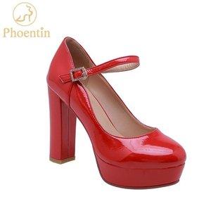 Zapatos de vestir Phoenin 2021 plataforma roja tacones altos tacones de patente correa de hebilla de cuero boda bombas de punta de punta redonda mujer más tamaño FT714