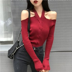 Women Halter Slash Neck Knitted Off shoulder Sweater Pullover Girls Knitting Stretchy Sweaters Pullovers Tops Female DX6722