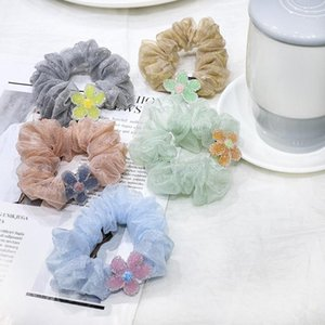 Ins Coreano Mulheres Elastic Cute Lace Cabelo Bandas Hait Floral Meninas Mesh Scrunchie Headwear Tule Headband Acessórios De Cabelo