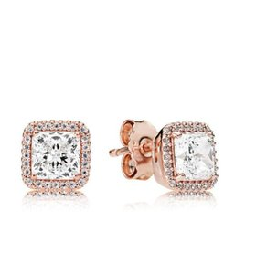 Rose gold plated Wedding earrings CZ diamond Engagment Jewelry for pandora 925 Silver Square Sparkle Halo Ring Set with Original box