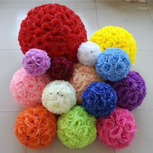 15cm 20cm 25cm 30cm Silk Flower Wedding Rose Kissing Balls Pomander Decorative Hanging Flower Ball Wedding Party Decoration Ball1