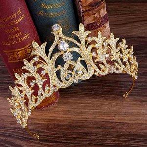 Vintage Königin DIADEMA Gold Metall Strass Braut Krone und Tiara Algen Blatt Kristall Noiva Hochzeit Haarschmuck Schmuck