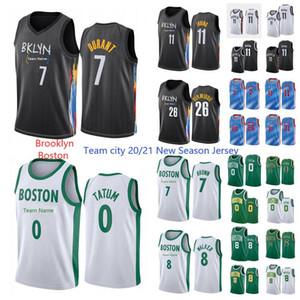 Yeni Sezon Brooklyn8Boston Kevin 7 Durant Jersey Kyrie 11 Üniforma Irving Basketbol Jason 0 Tatum 7 Brown 8 Walker 2021 Şehir Jersey