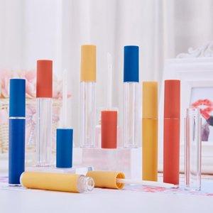 10/30/50 PCS 5ml Vazio Labelo Garrafa de Brilho, Azul / Amarelo Tampão Fosco DIY Plástico Lipgloss Tube, Beleza Cosmético Embalagem Recipiente