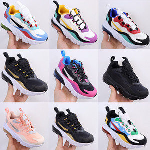 New Colors 270 React Bauhaus TD Kids Shoes Boy Girls Running Shoes Black White Hyper Bright Violet Toddler Children Sneakers 28-35