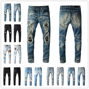 2021 Mens Jeans Fashion Skinny Straight Slim Ripped Jean elastic Casual Motorcycle Biker Stretch Denim Trouser Classic 615 Pants jeans