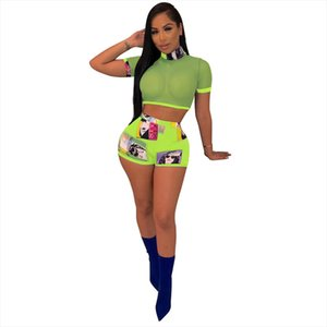 Women Girl Mesh Tops Short Sleeve Transparent T Shirt Blouse Tee Shorts Mini Short Trousers Two Piece Set Women Slim Tracksuit