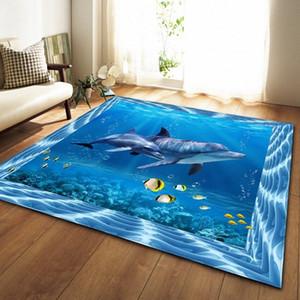 3D Tappeto Sea World Finsh Whale Carpet bambini Baby Room salotto e camera da letto Tappeti Turtle Tappetino Cucina Home Decor WQ7o #