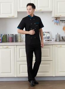 1 Pcs logo personnalisé chef Veste Catering Catering Restaurant Chef Jackets à manches courtes unisexe T-shirt gratuit de conception Taille M 4XL wmtXhQ sqtrimmer