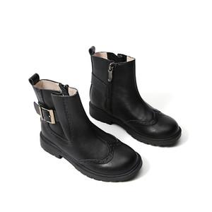 Stivali da tacco Med Stivaletti Round Toe Boots-Girl Booties Baby Stivali invernali Bambino Flat Lolita 2020 Autunno Rock Rock Gomma Caviglia