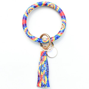 Styles Hot Sun Flower Flag Pattern Leather Wrap Tassels Bracelets Keychain Wristlet Bracelet Tassel Keychain Round Bangle Key Ring DDE2130