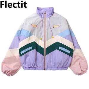 Flectit Женщина Пастель Bomber Симпатичная Вышивка Цвет Блок Duster Сувенирной Sukajan куртка Японских девочки Harajuku Style * Q1110