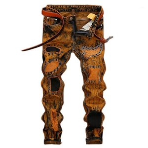 Evjsuse amarelo revestido retro jeans masculino buraco personalidade slim reta mens jeans patchwork bordado rasgado1