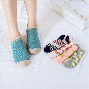 fruit cartoon pattern boat socks creative cute female sock low to help non-slip cotton sock breathable girl invisible socks