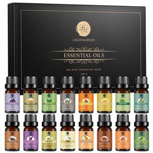 Lagunamoon Premium Top 16 Natural Aceites Esenciales Naturales Conjunto de aromaterapia Difusor Multa Fragancias 10ml Lavanda Bergamot Tangerine