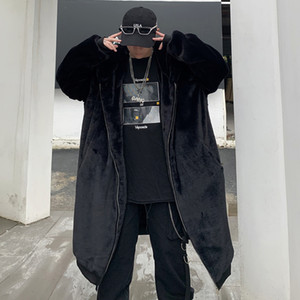 Inverno solto longa com capuz Coelho Casaco de Pele Cabelo Casaco Comprido lã Fur Jacket Men