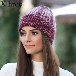 Xthree Winter 's para a menina malha Mulheres Skullies Gorros Chapéu de lã CapX1023