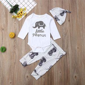Bébé garçon vêtements 2021 nouveau-né bébé garçon unisexe enfant éléphant manches longues à manches longues top pantalon chapeau automne vêtements ensemble 0-24m