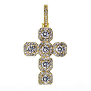 Iced Out Cross Pendant Men 14K Gold Chains Bling Cubic Zirconia Hip Hop Jewelry Mens Hiphop Pendant Necklace