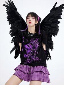Gothic Hip Hop Music Band Imprimir Mulheres Harajuku Camiseta Algodão Tshirt Grunge Tee Top Punk Pastel Pastel Goth Anime Roupas