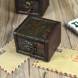 Vintage Wood Jewelry Box Handmade Candy Box Ring Necklace Rectangular Photography Props Bride Wedding Jewelry Storage ZYY547