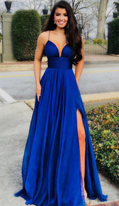 Sexy Spaghetti Straps Sweetheart A-line Split Skirt Floor Length Royal Blue Chiffon Pageant Gown Prom Party Dress