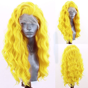 Yellow synthetic Lace Front Wig free part water wave simulation Human Hair Wigs 28 30 inch Transparent Glueless Wigs For Women 180%