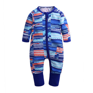 Autumn Baby Romper Infant Baby Striped Footed Handed Pajama Sleeper Zipper Rompers Boy Clothes