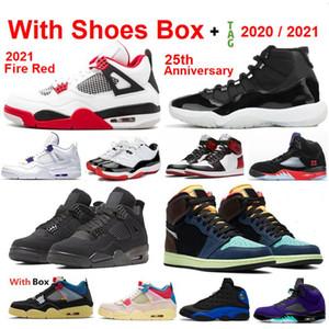 جديد 2021 4 Fire Red 4S 11 25th Anniversary 5 What The 4S 11S Concord كرة السلة أحذية رياضية أحذية رجالية بالجملة 1 عالية الساتان شيكاغو