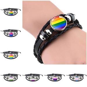 Braccialetto in pelle LGBT Braccialetto PRODE Bracciale in vetro Cabochon gay Pride Rainbow Flag Photo Braccialetto di fascino per donna Amanti da uomo Gioielli 155 O2