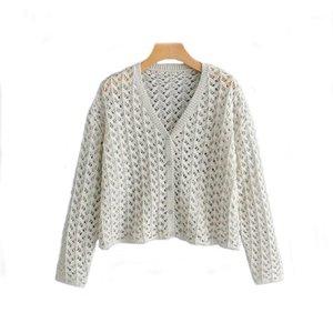 Zxqj tricoté femmes oversize cardigan pull 2019 mode dames élégant bouton - pulls de laine filles creuses creux knitwear1