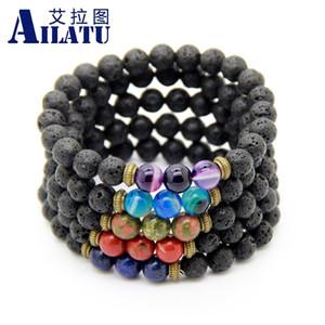 Ailatu Wholesale 10pcs lot New Design Fashion Jewelry Men's Beaded Picasso Lava Stone Stretch Yoga Bracelets