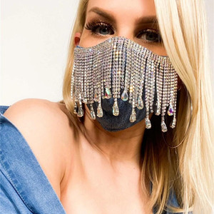 Kadınlar Düğün Nightclub Dekorasyon Seksi Parlak Yapay elmas Püskül Maskesi Dekorasyon Yüz Aksesuarları Kapak Yüz Takı