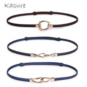 Pelle Jeans sottile PU del KASURE Brand Design Cintura Donne Belt elastico Oro Fibbia in metallo Ladies Dress femminile cintura