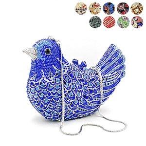 Women evening bag colorful diamonds luxury clutch bridal wedding party purse handbag animal bird crystal purses Q1113