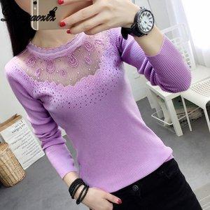 Dingaozlz Autunno Inverno sexy Pullover patchwork diamante Maglione Tops shirt Slim merletto del ricamo 201017