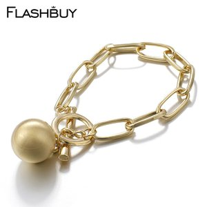 Flashbuy Simple Chain Bracelets For Women Fashion Gold Color Ball Charm Lock Alloy Bangles Costume Jewellery Gift