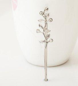 شكل شجرة أوراق مع الطيور على فرع الراتنج الماس دبوس الشعر الذهب أو الفضة مطلي للنساء بنات الشعر كليب 2331