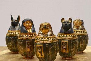 Wholesale-Egyptian Canopic Jar Set of 5 - Hapi Duamutef Imseti Qebehsenuef Burial Urn Home Decor Statue Egypt 18cm height HBg4#